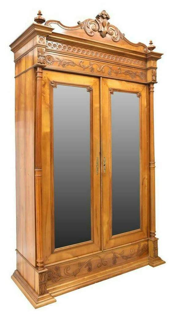 Antique Armoire, French Provincial, Fruitwood, Mirrored 1800's, Late 19th Century, Very Classy Piece!!
