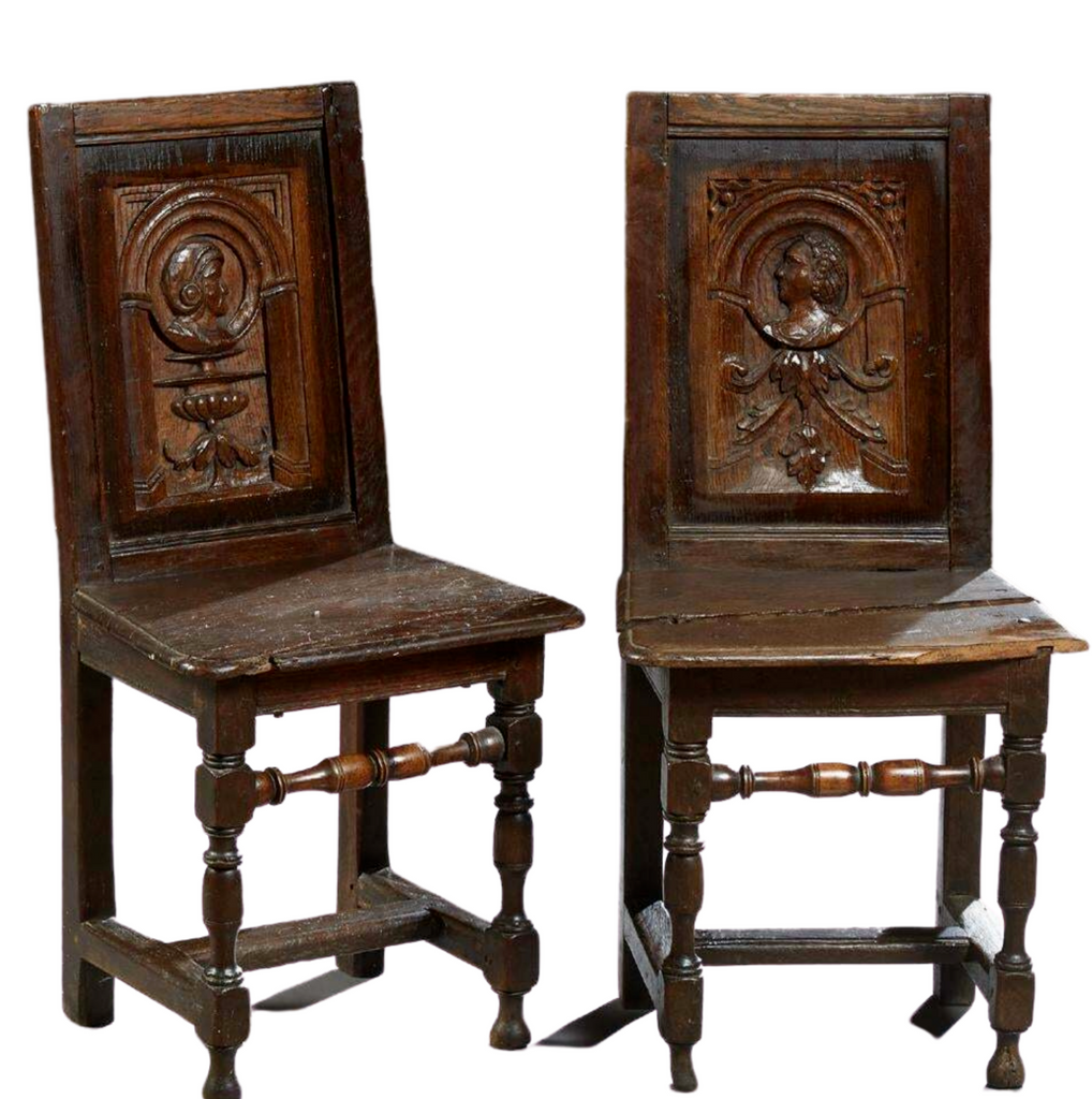 Antique Breton Side Chairs, Pair of Louis XIII Style Carved Oak, 1820 C, Charming