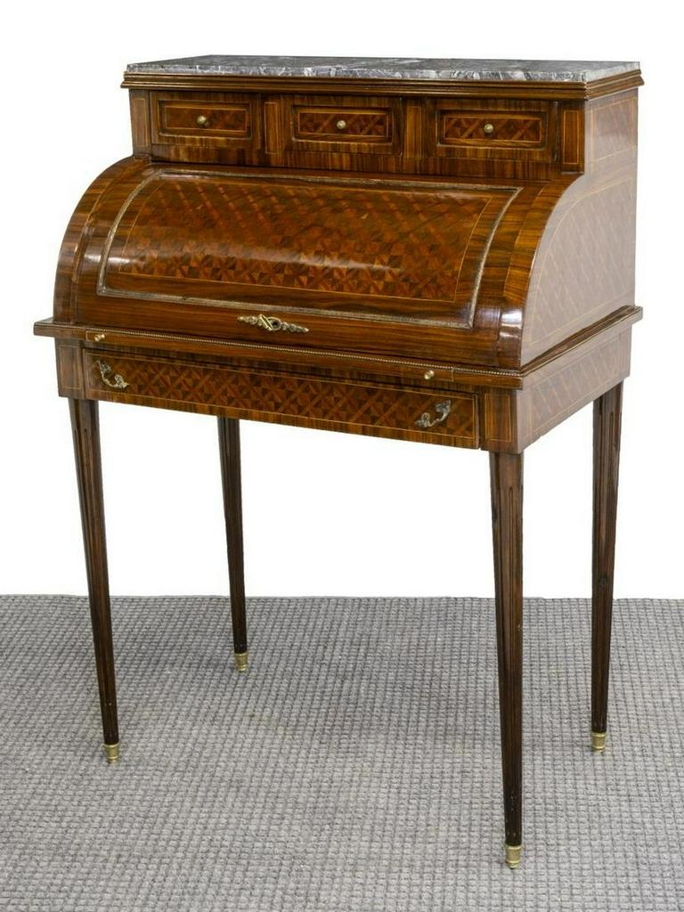 Bureau, Desk, French Louis XVI, Cylinder, Marble Top, early 1900s!
