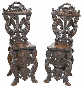 Antique Chairs, Carved, Italian Renaissance, Revival, Pair of Elaborate and Ornate Chairs 1800s!!!