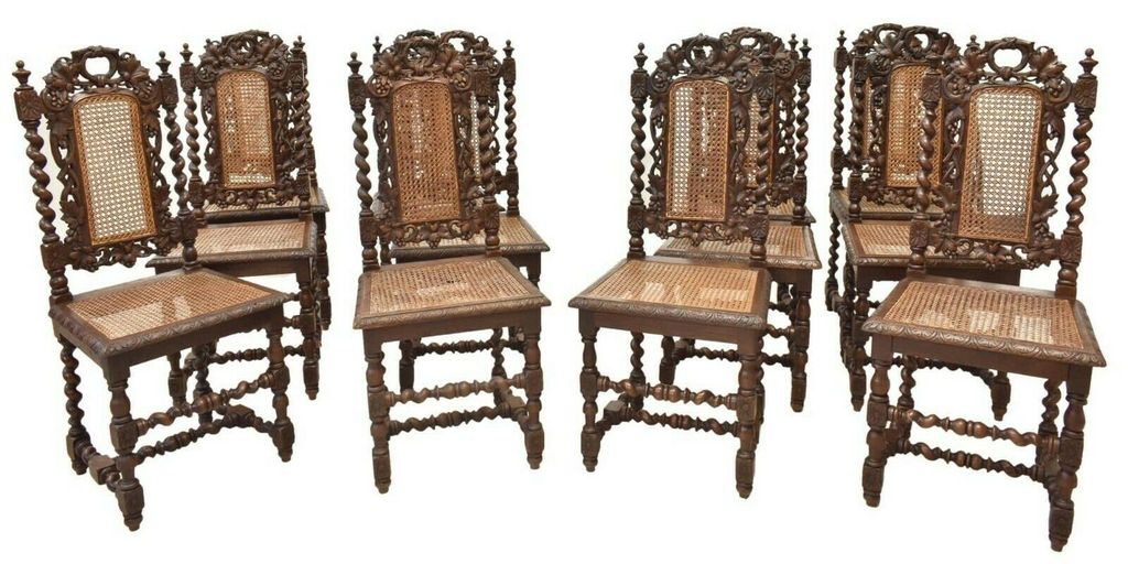 Handsome Set of 12 Antique Dining Chairs, French Henri II Style Carved Oak, 1800's, 19th Century!!