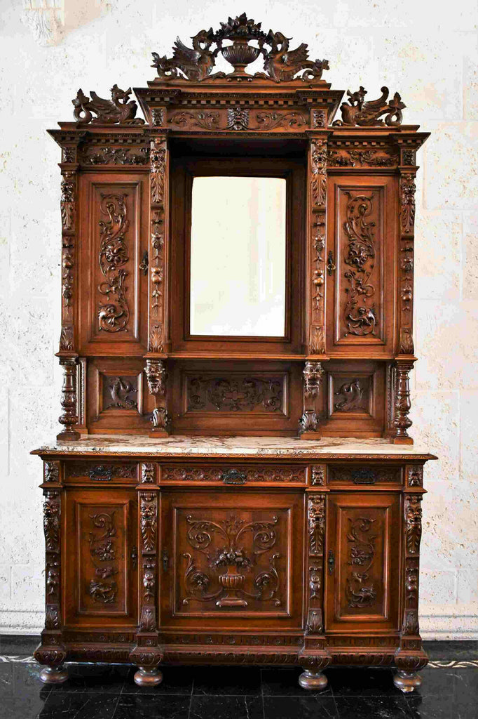 Antique Cabinet, China, Server, Continental Victorian, 1800s, Gorgeous!