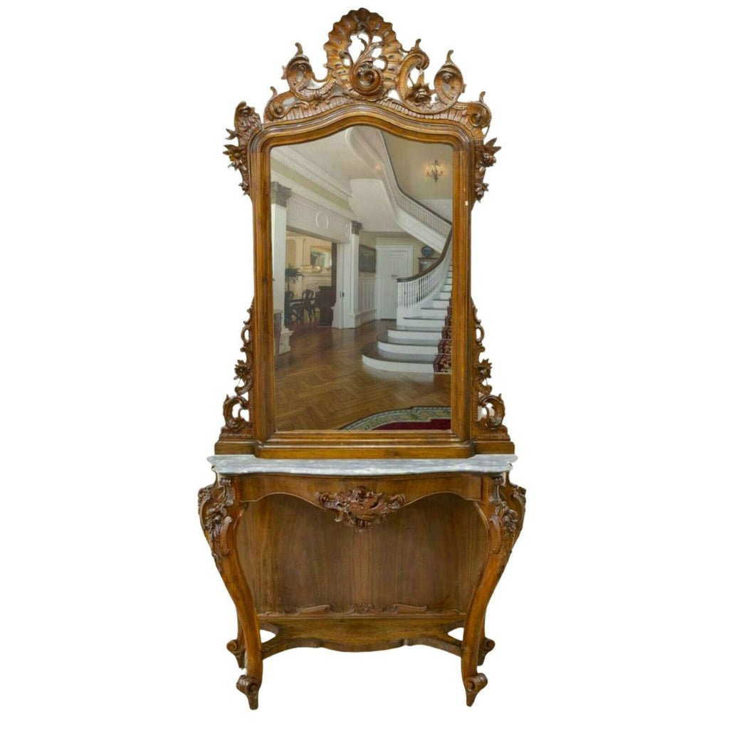 Antique Console & Mirror, Italian Louis XV Style, Monumental, 19th C. ( 1800s ), Beautiful!!