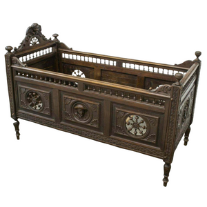 Antique Crib, Child's Bed, French Breton, Carved Oak, 1800s, 19th Century, Gorgeous!!