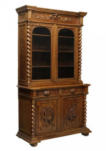 Antique Bookcase. Cupboard, French Oak Hunt 19th Century ( 1800s ), Gorgeous!!