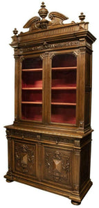 ANTIQUE BOOKCASE OR DEUX CORPS BUFFET, FRENCH HENRI II STYLE, 19TH C., 1800'S, GORGEOUS PIECE!!