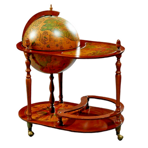 Bar, Globe, Vintage, Serving Cart, French Carved Beech World Globe Bar, 20th C.!