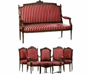 Parlor Set, French Louis XVI Style Six-Piece Carved Walnut Early 1900s, Red-Striped, Charming!!
