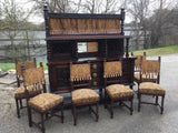 Spanish Renaissance Heavily Carved Oak Sideboard and 6 chairs (19th century) 1800s