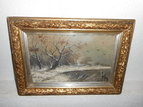 Belgian Winter Landscape Antique Painting 19th Century ( 1800s ) - Old Europe Antique Home Furnishings