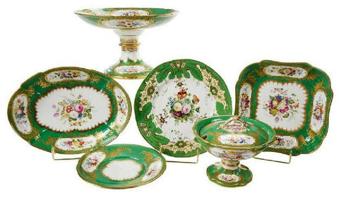 Antique Porcelain, Decorated Dishes, Green Floral, 13 Pieces, Gorgeous!! - Old Europe Antique Home Furnishings