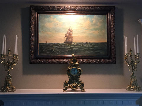 Very Old Continental Painting of a Ship at Sea 18th Century ( 1700s) - Old Europe Antique Home Furnishings