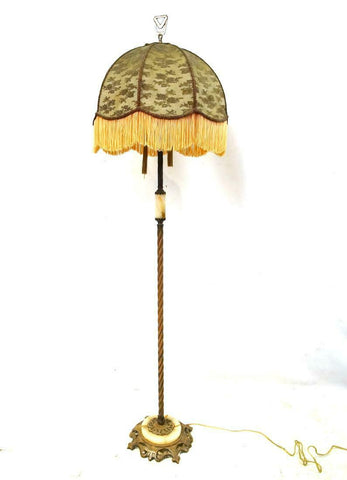 Charming 1920's Agate and Cast Iron floor lamp, early 1900s!! - Old Europe Antique Home Furnishings