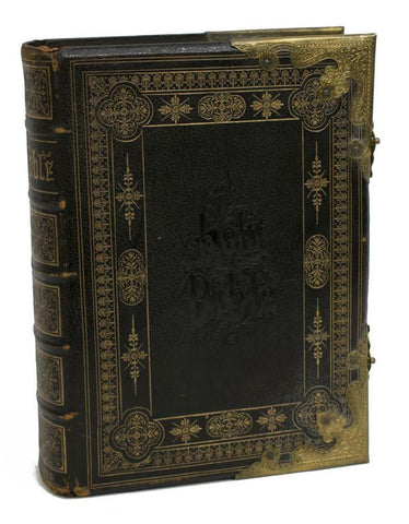Bible, Antique, Family, Leather and Brass Bound, 19th C, (1800's)!!! - Old Europe Antique Home Furnishings