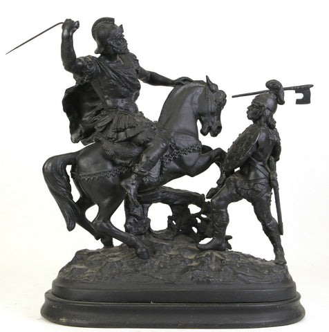 CAST VIC. SPELTER WARRIOR FIGURES Height: 18 in. by Width: 20 in. by Depth: 7 1/2 in. - Old Europe Antique Home Furnishings