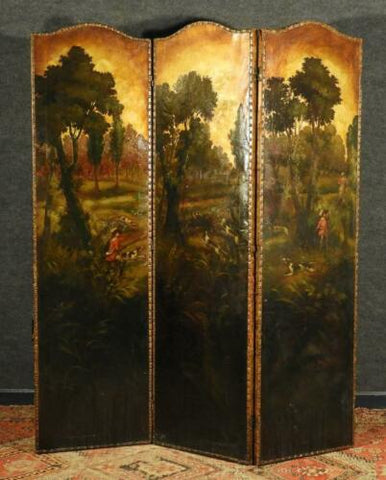 Antique Screen, Folding, 1900s, English Painted Leather Fox Hunting Scene, Nice for Dividing up a Room! - Old Europe Antique Home Furnishings