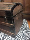 Antique Humpback Steamer Trunk, square nail construction, 19th Century ( 1800s )