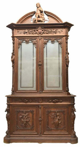 Antique Cabinet, Fine Relief Carved Oak Game Bird Hunt Cabinet, Gorgeous 1800's!! - Old Europe Antique Home Furnishings