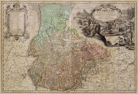 Early Map of Germany, Selisia, 18th Century ( 1700s ) - Old Europe Antique Home Furnishings