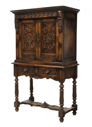 French Floral Carved Cabinet 19th century