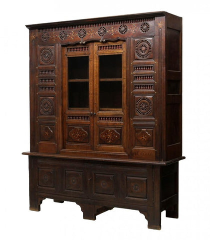 French Breton Inlaid Carved Cabinet 19th century ( 1800s )