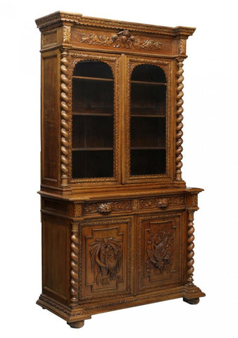 Antique Bookcase. Cupboard, French Oak Hunt 19th Century ( 1800s ), Gorgeous!! - Old Europe Antique Home Furnishings