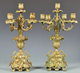 Pair of French Bronze Renaissance Revival 5-light Candelabra 19th Century ( 1800s ) - Old Europe Antique Home Furnishings