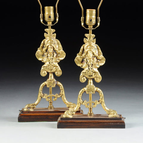 Pair of Regence Revival Polished Brass Chenet  Form Lamps - Old Europe Antique Home Furnishings