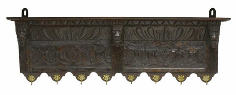 Henry II style carved hat rack, 19th Century