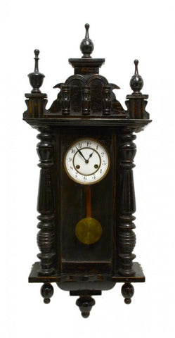 Clock, Wall, Ebonized Jungans in Oak Case, Porcelain Dial, Handsome Decor! - Old Europe Antique Home Furnishings