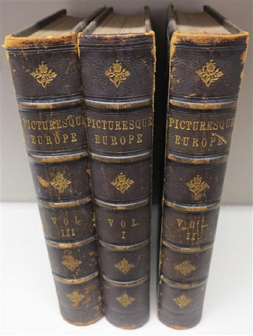 Antique Books, History, Picturesque, Europe 1878, 3 Folio Volumes,  (1800s), - Old Europe Antique Home Furnishings