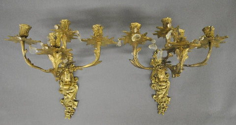 Two Cast Brass Metal Leaf-form wall sconces, early 20th century - Old Europe Antique Home Furnishings