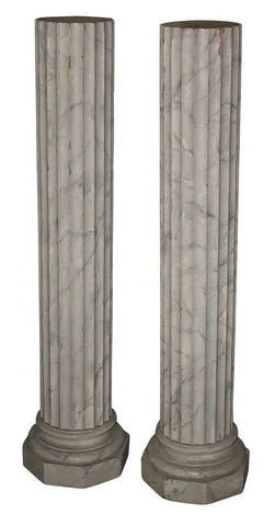 Pedestals,  Faux Marble, Pair, Handsome Decor for Displaying Treasures! - Old Europe Antique Home Furnishings
