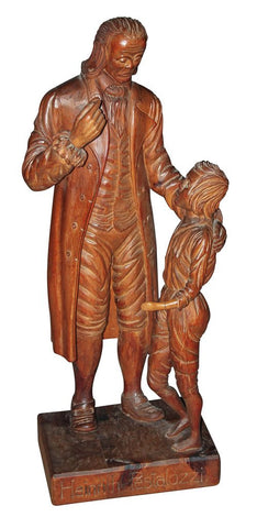 Antique Carving, Wooden, Swiss, of Heinrich Pestalozzi, 1800's, 19th Century, Handsome Decor!! - Old Europe Antique Home Furnishings
