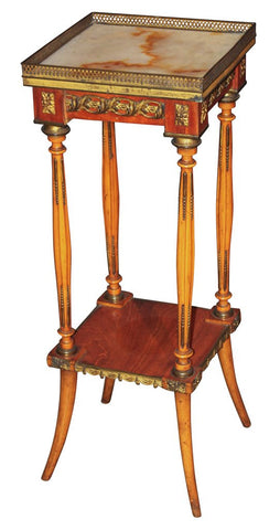 Antique Empire Style Marble Topped Stand - Old Europe Antique Home Furnishings