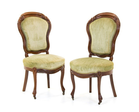 Pair of Continental Walnut Side Chairs ( 1800s )