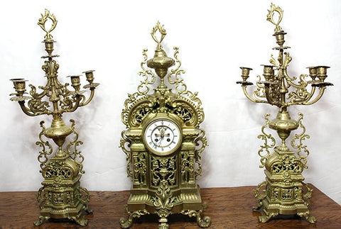 Very Large French Louis XV style gilt bronze clock with 2 candelabra. ( likely 1800s )) - Old Europe Antique Home Furnishings