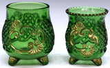 Pressed Glass, Gilt Green Table Items 19th century ( 1800s ) - Old Europe Antique Home Furnishings