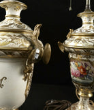 Pair of English Porcelain Vase Lamps 19th Century ( 1800s ) - Old Europe Antique Home Furnishings