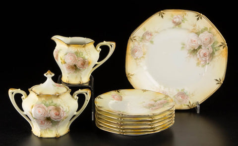 R.S. Prussia Porcelain Table Articles, Lot of Nine Plates etc 19th / 20th century - Old Europe Antique Home Furnishings