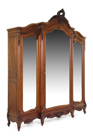 Antique Armoire, Louis XV Style, Walnut, Three-Door,Absolutely Fantasic Piece 1700's/1800s, Fantastic PIece!! - Old Europe Antique Home Furnishings
