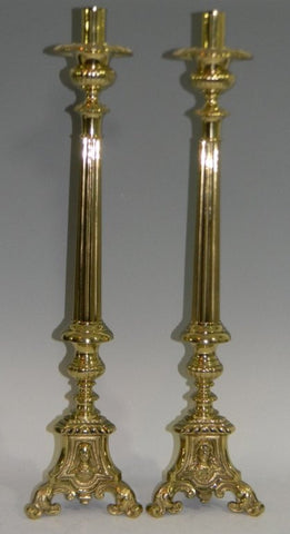 "Charming 23"" Pair of Brass Alter Candlesticks, Baroque style, early 1900s - Old Europe Antique Home Furnishings"