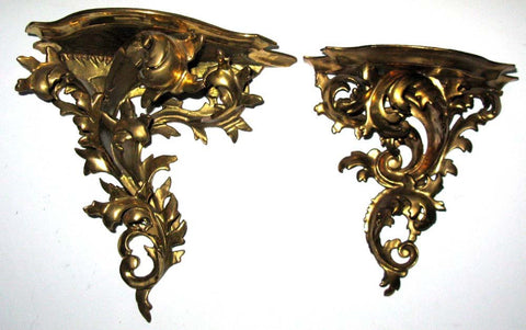 Pair of Antique Italian Gilded Wood Wall Shelves