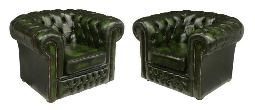 Fantastic Green Leather Tufted Chesterfield Sofa And 2 Matching Chairs Gmtry Best Dining Table And Chair Ideas Images Gmtryco
