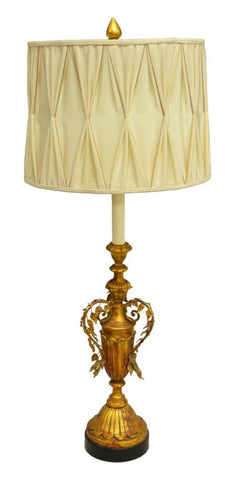 CONTINENTAL GILT VASIFORM STANDARD FLOOR LAMP 20th Century - Old Europe Antique Home Furnishings