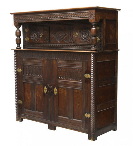 English Oak Cumberland Court Cupboard, 17th century ( 1800s )