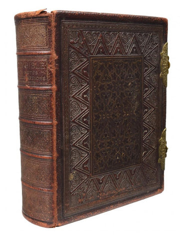 Large Antique English Leather  and Brass Bound Holy Bible 19th Century ( 1800s )
