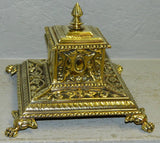 Cast Brass Victorian claw foot inkwell 19th Century ( 1800s ) - Old Europe Antique Home Furnishings
