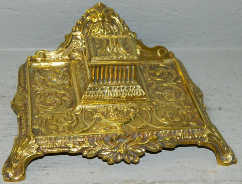 French Cast Brass Inkwell