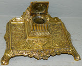 French Cast Brass Inkwell - Old Europe Antique Home Furnishings